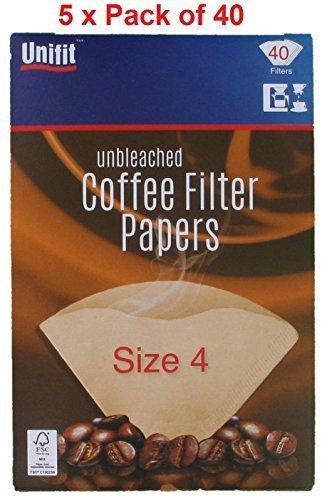 Papeles de filtro de café 200unidades), color marrón tamaño cuatro (4o 1x 4) apto para moler café filtro máquinas y conos.