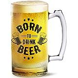 Beer Mug Born To Drink Beer Printed Beer Mug 500 Ml Best Gift For Husband,Friend,Birthday,Anniversary