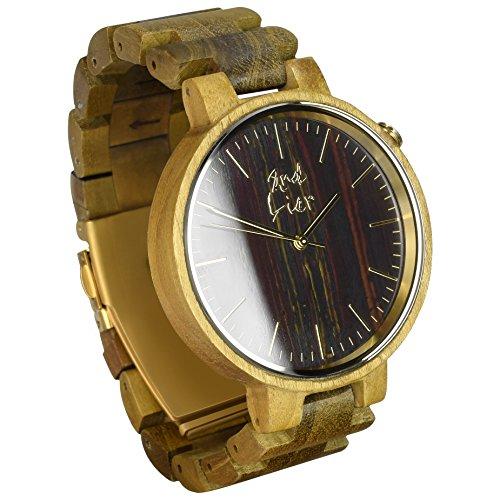 2nd Liar / Stonewatch / einzigartige Holz Armbanduhr / edle Holzuhren mit Ziffernblatt aus Stein / vegane Holzuhr / handgefertigt, unisex / 42mm / Teak
