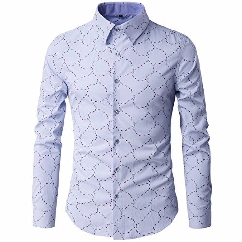 Men's Chemise Printed Long Sleeve Slim Fit Dress Shirts blue