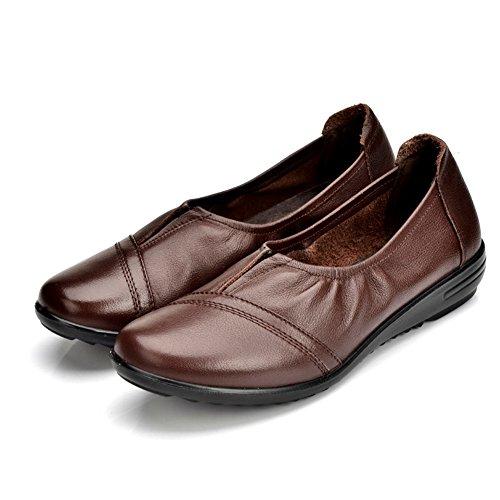 Maman et cuir chaussures/Glisser une confortable talon bas/Chaussures légères/Les souliers A
