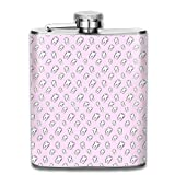 Pink Teeth Stainless Steel Liquor Flagon Retro Pocket Flask\Stainless Steel Travel Flask Great Little Gift,Safe And Nontoxic