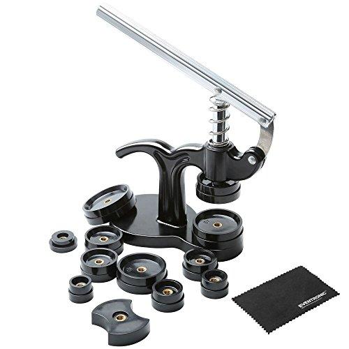 Uhr Presse, Eventronic Uhrwerkzeug Uhr Einpresswerkzeug Uhrenschließer Gehäuseschließer Uhr Reparatur Werkzeug mit 12 Druckplatten Kunststoffeinsätze