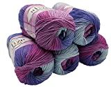 Alize Cotton gold 5 x 100g Strickwolle 55% Baumwolle, 500 Gramm Wolle mit Farbverlauf Mehrfarbig (Beere Lila Grau 3686)