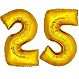 DekoRex® Folienballon Zahlenballon Heliumballon Luftballon Geburtstag Deko 120cm Zahl Gold 25
