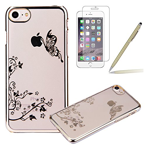 iPhone 7 Custodia Rigida,iPhone 7 Cover Trasparente con Disegno,Felfy iPhone 7 4.7 pollice Custodia Cover Case Bumper Caso Trasparente Luxury Belle Rose Gold Farfalla Brillantini Glitter Bling Strass  C14