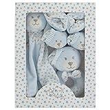 Baby Erstausstattung Junge Geschenk 3er Set Nuckeltuch Rassel Babyschuhen Blau Baby Shower Neugeborene Teddy Bär (Hellblau)