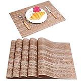 Famibay Vinyl Tischset 6er PVC Platzsets Rutschfest Abwaschbar für Küchentisch Tischläufer Abgrifffeste Hitzebeständig Platzdeckchen