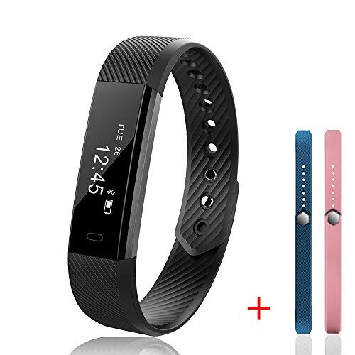 joygeek Fitness Tracker, reloj inteligente, smart pulsera con podómetro Monitor de sueño y SMS/llamada notificación para iphone 8/7/7Plus Huawei Mate 9/P9/P10Samsung S7/Nota 7/S8(negro + 2pulseras))