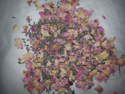 Biologisch abbaubar Getrocknete Rosenblätter-Pastell Rosa und cremefarbenen Blütenblättern mit Lavendel 50g (Real Blume Hochzeit Konfetti) Home Duft/Crafts - Rosenblätter Getrocknete Rosa
