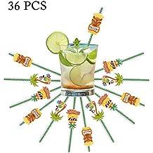 InnoBase 36pcs Pajas de Beber de Papel Cocktail Pajitas Decoraciones para Hawaii Tropical Beach Luau Cumpleaños