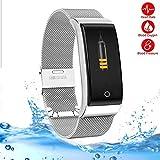LMtt Fitness Tracker, Smart Band Blood Pressure Heart Rate Monitor, Men Women Wristband Fitness Sports Watch Pedometer Smart Metal Armband,Silver