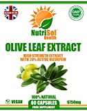 NutriSol Health Olive Leaf Extract 6750mg 60 Capsules | 20 per Cent Oleuropein | 100% Natural GMP Quality Food Supplement Made in The UK | Suitable for Vegetarians and Vegans