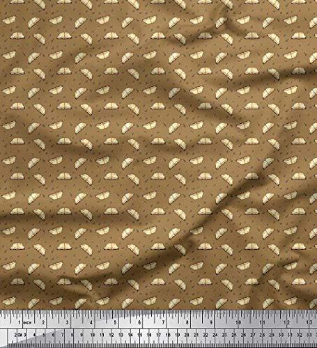 Soimoi Marron Mousse Georgette en Tissu Livres, Alphabets et numéros Symbole Tissu Imprime par Metre 42 Pouce Large
