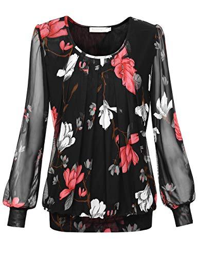 BaiShengGT Damen Langarmshirt Rundhals Falten Shirt Stretch Tunika Schwarz-Blumen XL -