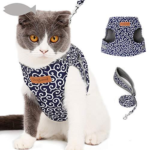 Tineer Puppy Cat Imbracatura da Passeggio con guinzaglio, Imbracatura Regolabile Cat Anti-Fuga Imbottita Morbida per Gattini (S, Blu)