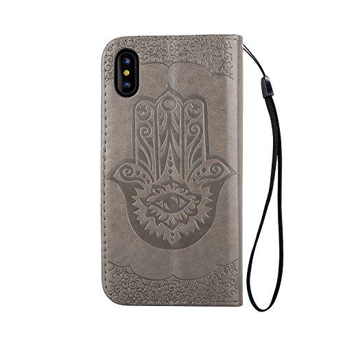 iPhone X / iPhone 10 5.8 Zoll 2017 Hülle, [Premium Leder Serie] Schutzhülle PU Leder Flip Tasche Case mit Integrierten Kartensteckplätzen und Ständer für Apple iPhone X ( + Stöpsel Staubschutz) (6) 10