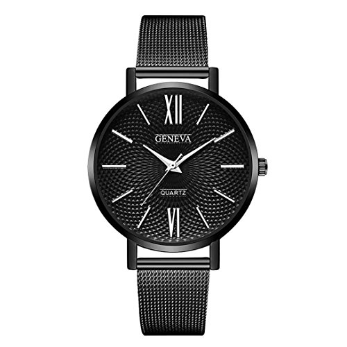 Damen Uhren,Pottoa Luxus Damen Thin Edelstahl Band Analog Quarz Armbanduhr Uhr für Frauen Männer (G)