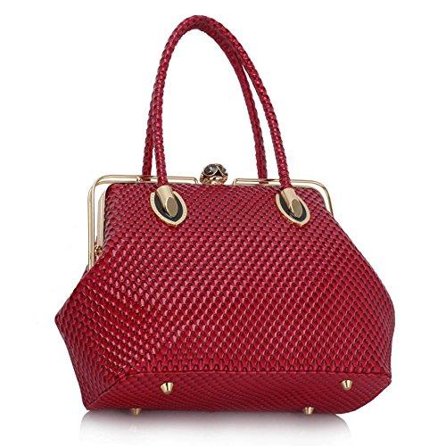LeahWard® Damen Mittel / Große Größe Patent Schultertaschen Damen Berühmtheit Stil Tragetasche Handtaschen 241 01-Fuchsia (34.5x16x26cm)