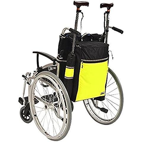 Ability Superstore - Borsa per sedia a rotelle, sedia a rotelle elettrica, nero/giallo - Rotelle Elettrica