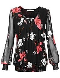 BaiShengGT Damen Shirt Rundhals Falten Shirt Stretch Tunika b2da4e4778