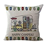 Proud Clothing Linen Blend Happy Campers Cushion Cover Cotton Pillowslip Square Decorative Throw Pillow Case 18 X 18