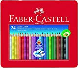 Faber Castell 112423 - Farbstifte Colour GRIP 2001, 24er Metalletui Spar-Set (1 x Farbstifte + 1 x A4 Malblock)