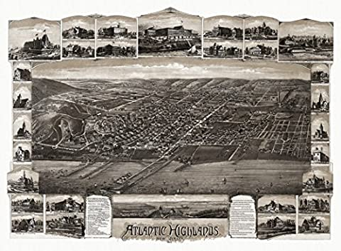 Historic Map of Atlantic Highlands New Jersey 1894 Monmouth County Fine Art Print (60.96 x 91.44