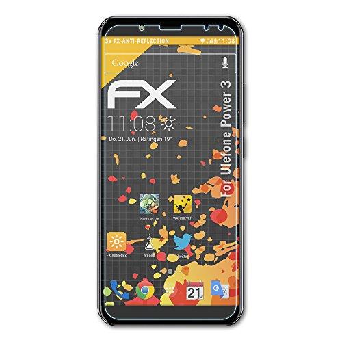 atFolix Panzerfolie kompatibel mit Ulefone Power 3 Schutzfolie, entspiegelnde & stoßdämpfende FX Folie (3X)