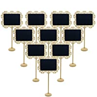 Lot de 10 mini panneaux noirs avec supports, servant de stand de numéro de table pour les mariages, les fêtes, ou support de cartes par Eurshine