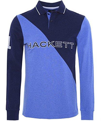 Hackett Slim Fit Manica lunga Polo Shirt Blu Marino & Blu L