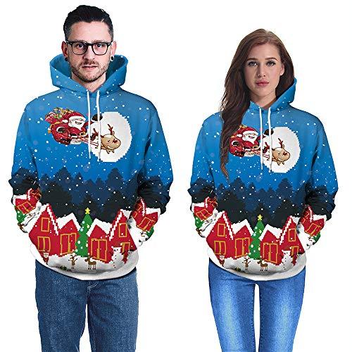 SEWORLD Frohe Weihnachten Kapuzenpulli Damen Langarm Warmer Weihnachtsmann Unisex Paare 3D Weihnachten Santa Drucken Hoodies Bluse Tops Shirt(Blau,EU-40/CN-XL)