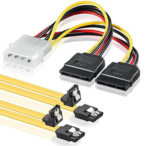 Preisvergleich Produktbild SET - 2x deleyCON 0,5m S-ATA 3 Kabel + 4pin zu 2x SATA Stromadapter - HDD / SSD Datenkabel mit Clip - 1x Stecker gerade zu 1x Stecker 90° Grad Winkel