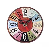 Uhr,Binggong Vintage Style Nicht-tickende Stille Antike Holz Wanduhr für Home Kitchen Office Runde Uhr aus Holz Uhr kleine Schlafzimmer Uhr (13*13cm, C)