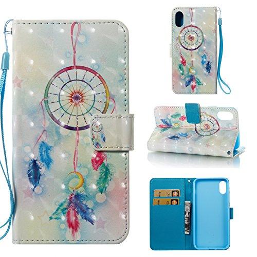 Ooboom® Coque pour iPhone 6S/6 Plus Housse 3D PU Cuir Flip Cover Étui Wallet Case avec Supporter Fermeture Aimantée Dragonne - Papillon Rouge Attrapeur de Rêves