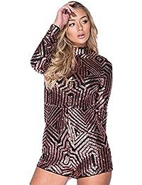 05d94dc80cd Momo Ayat Fashions Ladies Long Sleeve Sequin High Neck Playsuit UK Size 6-14