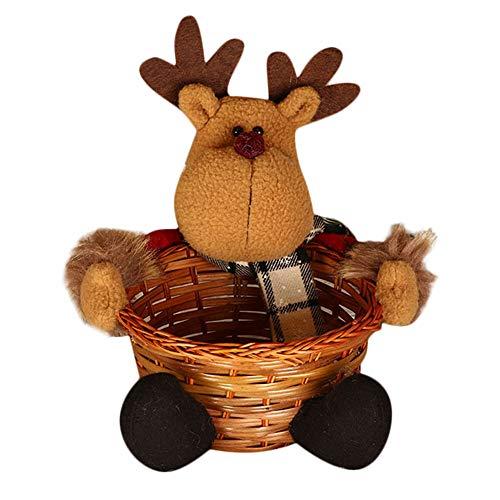 �ßigkeiten Korb, Weihnachtsmann Puppen Obst Ablagekorb Schüssel Süßigkeiten-Bambus Korb Handgewebter Korb Weihnachten Geschenk Dekoration (B) ()