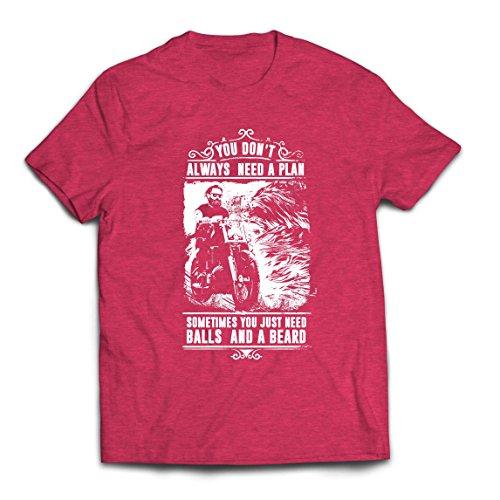 lepni.me Männer T-Shirt Sie brauchen Nicht Immer einen Plan - Motorrad, Liebe zu reiten, großes Geschenk für Biker (X-Large Heidekraut Rot Mehrfarben)