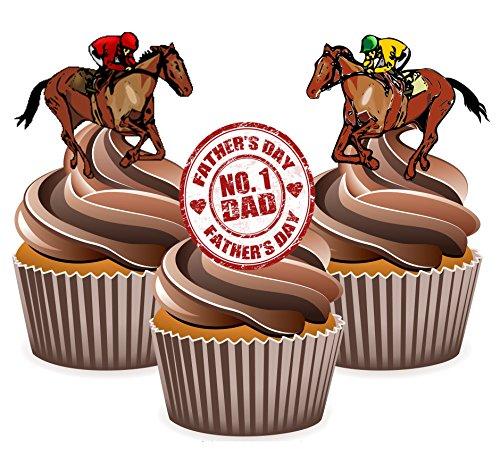 Vater 's Day Horse Racing Kuchen Dekorationen–essbar Stand-up Cup Kuchen Topper (Pack von 12) (Party Supplies Hamilton)