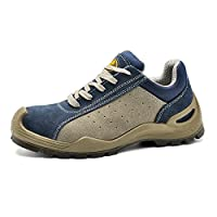 Safety Shoes for Men Steel Toe Work Boots- L7295 Lady Lightweight Slip on Wide Fit Working Safety Shoes Trainers,Blue, 8 UK (42 EU)