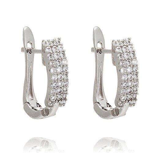 Diamante sintetico, placcato in oro bianco con zirconi di qualità AAA da piccoli orecchini a cerchio, brillanti