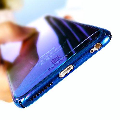 Coque pour iPhone 5/5S/SE FLOVEME Étui Placage en PC Rigide Housse avec Couleur Dégradé Ultra-mince de Protection pour iPhone 5/5S/SE - Bleu