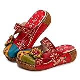 Gracosy Damen Sandalen, Sommer Leder Pantoffel Vintage Slipper Rückenfrei Clogs Bunte Blume Schuhe Weich Komfortabel