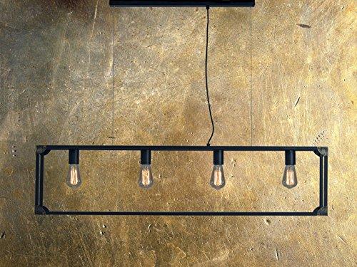 XXL Industrielampe   Vintage   Käfig   Design Pendelleuchte   Lampe   L= 120cm   Hängelampe im Vintagelook   Loft-Style   Schwarz   4x E27   Inklusive Dimmbare Leuchtmittel 4X60 Watt