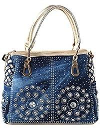 Di Grazia Women's Italian Diamond Stone Denim Handbag - Blue Gold (Denim-Stone-Blue-Handbag)