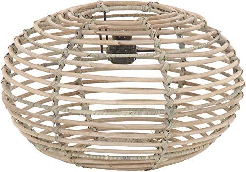 Lampenschirm Retro aus echtem Rattan, Gestäbter Design Schirm für Deckenlampen/Deckenleuchten/Hängelampen (Grau Ø40cm) -