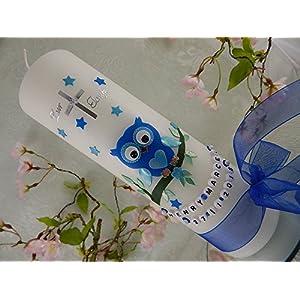 Taufkerze Eule blau Taufkerzen Junge Mädchen 250/70 mm mit Name und Datum
