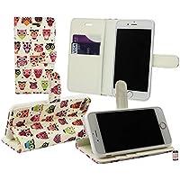 Emartbuy Premium PU Leder Desktop-Ständer Wallet Schutzhülle Tasche mit Kreditkarte Slots für Apple iPhone 7–Fairy girl-parent, PU-Leder, Eulen, Apple iPhone 7