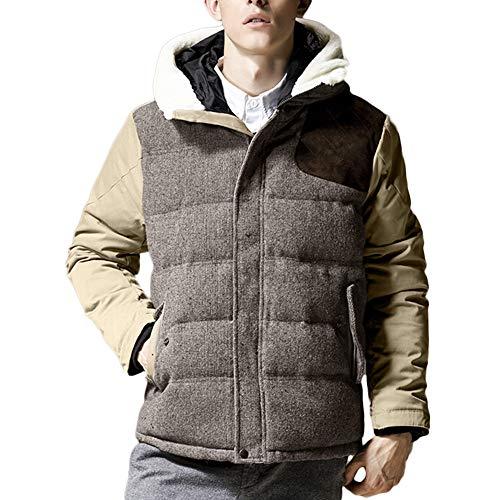 Xmiral Herren Baumwoll-wattierte Jacke Winter warm mit Kapuze Reißverschluss Thick Fest Mantel (L,Khaki)