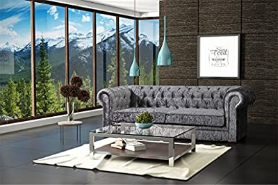 LoveSofas Brand New Silver Grey Modern Crushed Velvet Fabric Chesterfield 3 Seater Sofa by Lovesofas